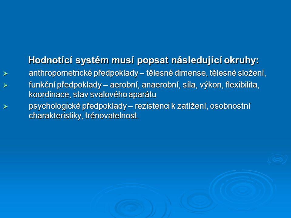 Hodnotící systém musí popsat následující okruhy: Hodnotící systém musí popsat následující okruhy:  anthropometrické předpoklady – tělesné dimense, tělesné složení,  funkční předpoklady – aerobní, anaerobní, síla, výkon, flexibilita, koordinace, stav svalového aparátu  psychologické předpoklady – rezistenci k zatížení, osobnostní charakteristiky, trénovatelnost.