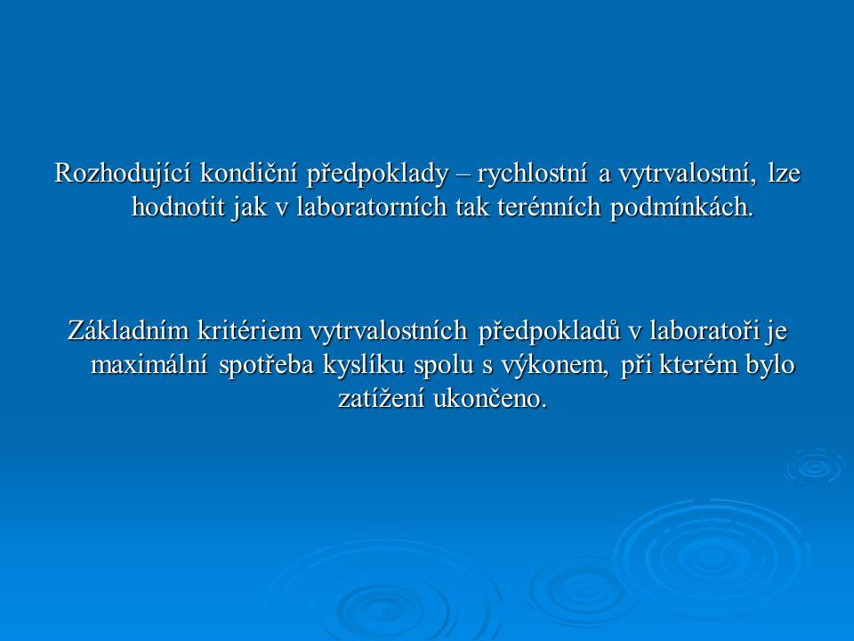 Rozhodující kondiční předpoklady – rychlostní a vytrvalostní, lze hodnotit jak v laboratorních tak terénních podmínkách.