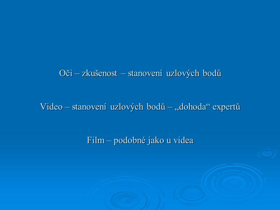 """Oči – zkušenost – stanovení uzlových bodů Video – stanovení uzlových bodů – """"dohoda expertů Film – podobné jako u videa"""