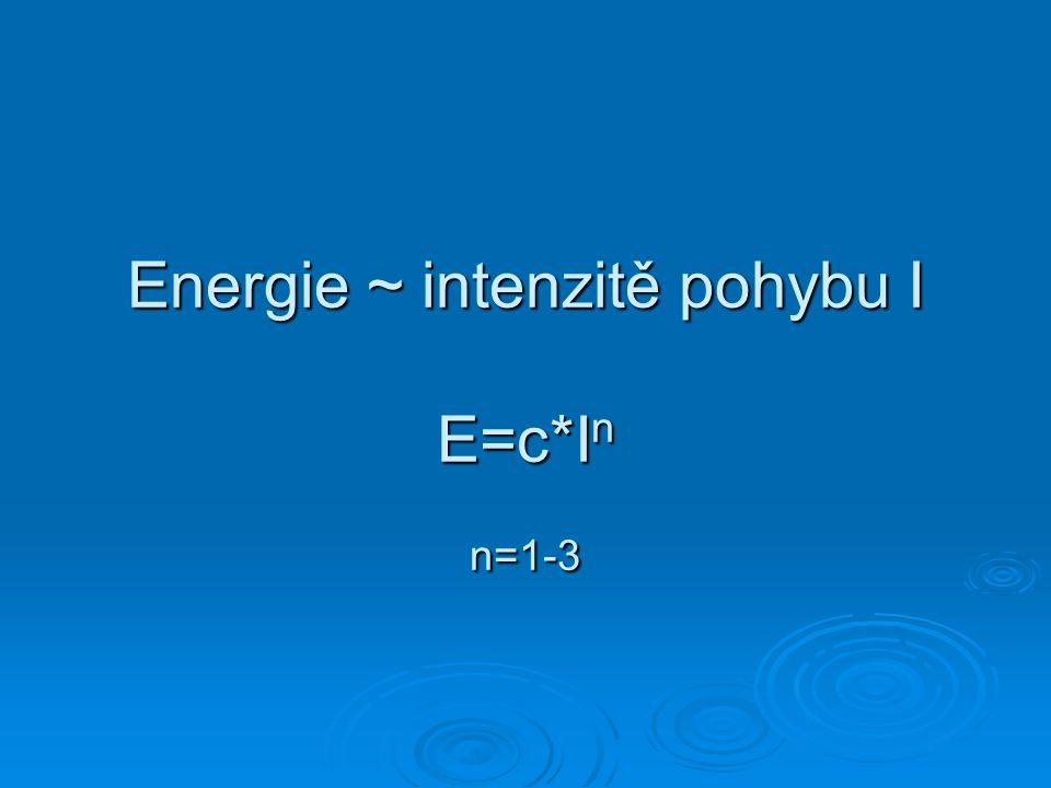 Energie ~ intenzitě pohybu I E=c*I n n=1-3
