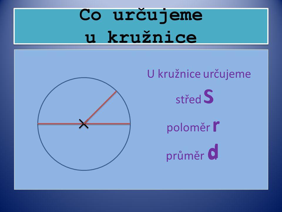 Co určujeme u kružnice U kružnice určujeme střed S poloměr r průměr d S r d