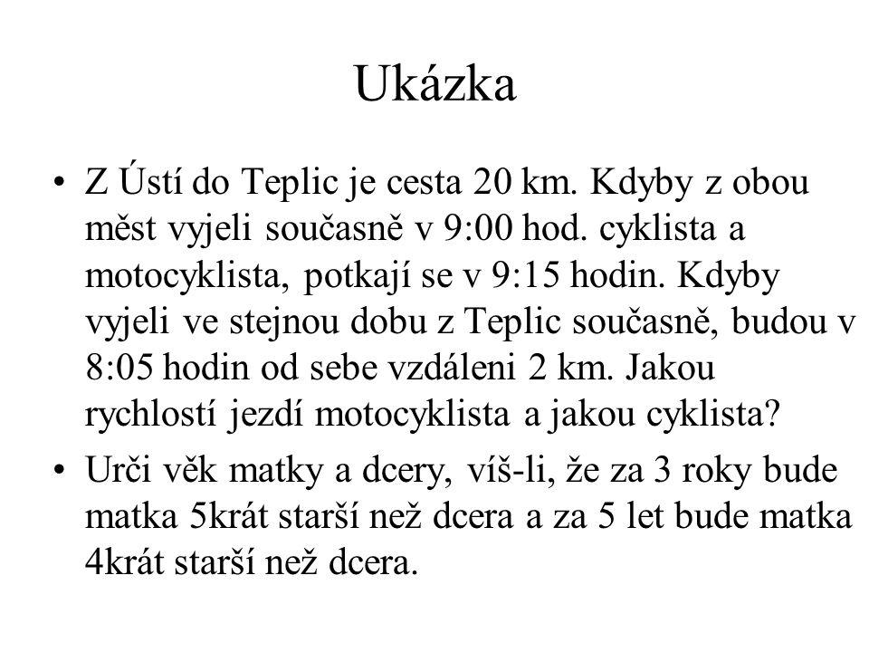Ukázka Z Ústí do Teplic je cesta 20 km. Kdyby z obou měst vyjeli současně v 9:00 hod.