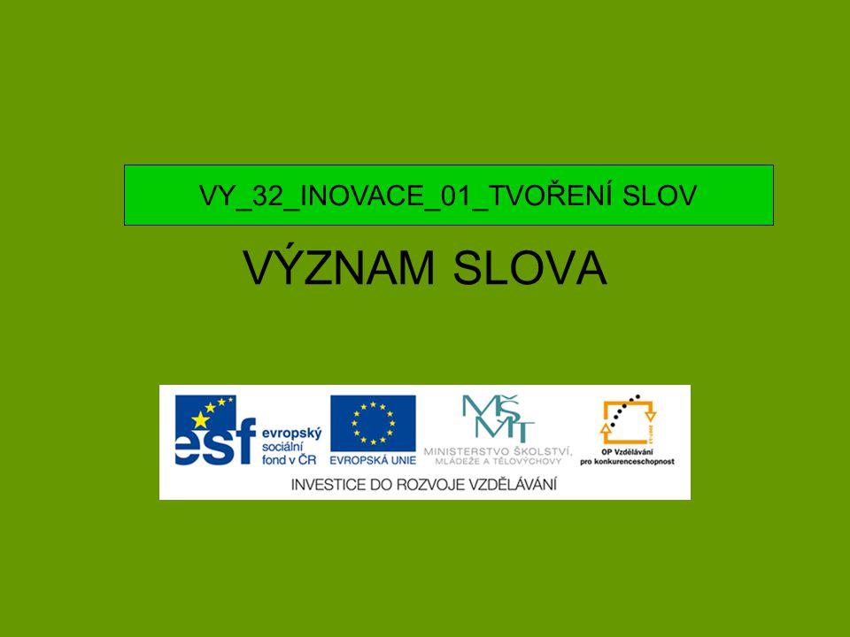 VÝZNAM SLOVA VY_32_INOVACE_01_TVOŘENÍ SLOV