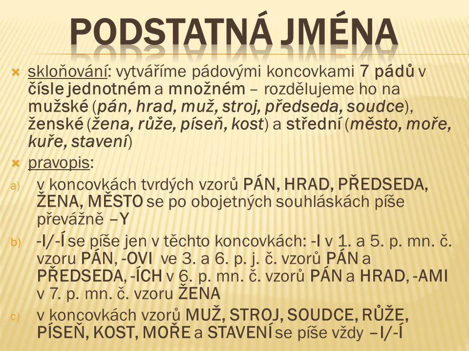 skloňování: vytváříme pádovými koncovkami 7 pádů v čísle jednotném a množném – rozdělujeme ho na mužské ( pán, hrad, muž, stroj, předseda, soudce ), ženské ( žena, růže, píseň, kost ) a střední ( město, moře, kuře, stavení )  pravopis: a) v koncovkách tvrdých vzorů PÁN, HRAD, PŘEDSEDA, ŽENA, MĚSTO se po obojetných souhláskách píše převážně –Y b) -I/-Í se píše jen v těchto koncovkách: -I v 1.