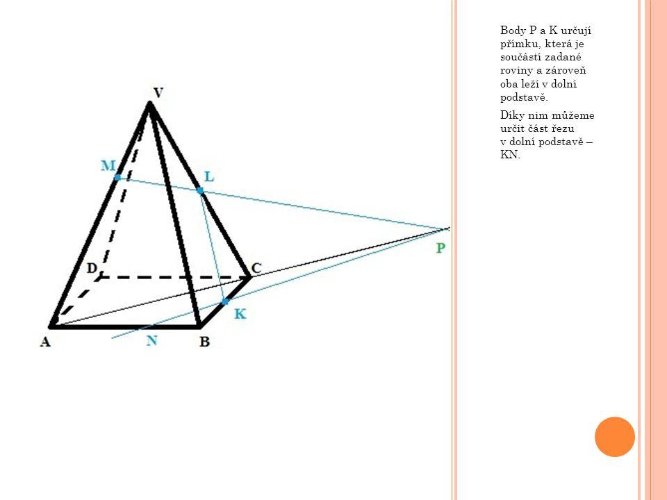 Body P a K určují přímku, která je součástí zadané roviny a zároveň oba leží v dolní podstavě. Díky nim můžeme určit část řezu v dolní podstavě – KN.