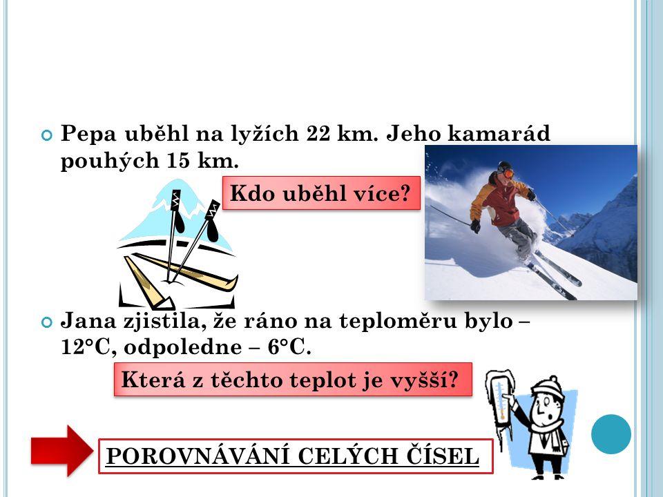 Pepa uběhl na lyžích 22 km. Jeho kamarád pouhých 15 km. Jana zjistila, že ráno na teploměru bylo – 12°C, odpoledne – 6°C. Kdo uběhl více? Kdo uběhl ví