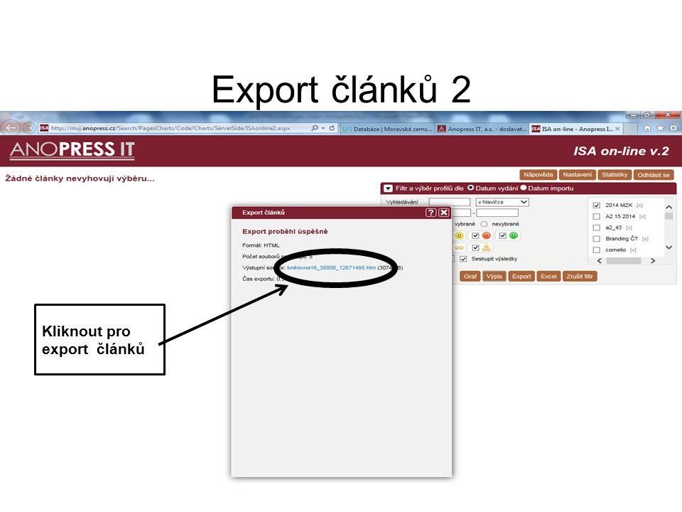 Export článků 2 Kliknout pro export článků