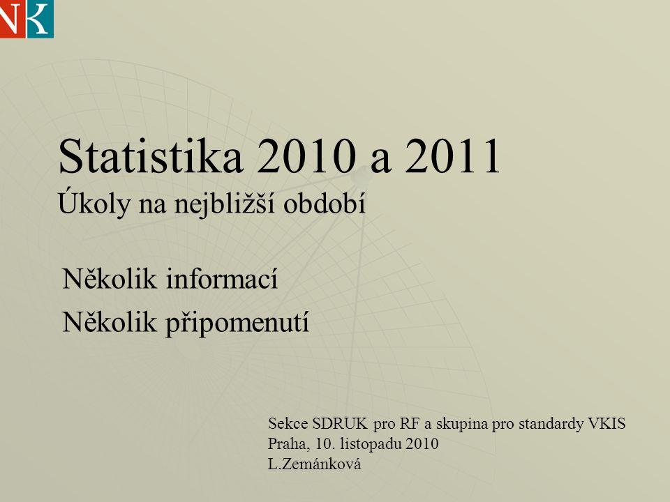 Statistika 2010 a 2011 Úkoly na nejbližší období Několik informací Několik připomenutí Sekce SDRUK pro RF a skupina pro standardy VKIS Praha, 10.