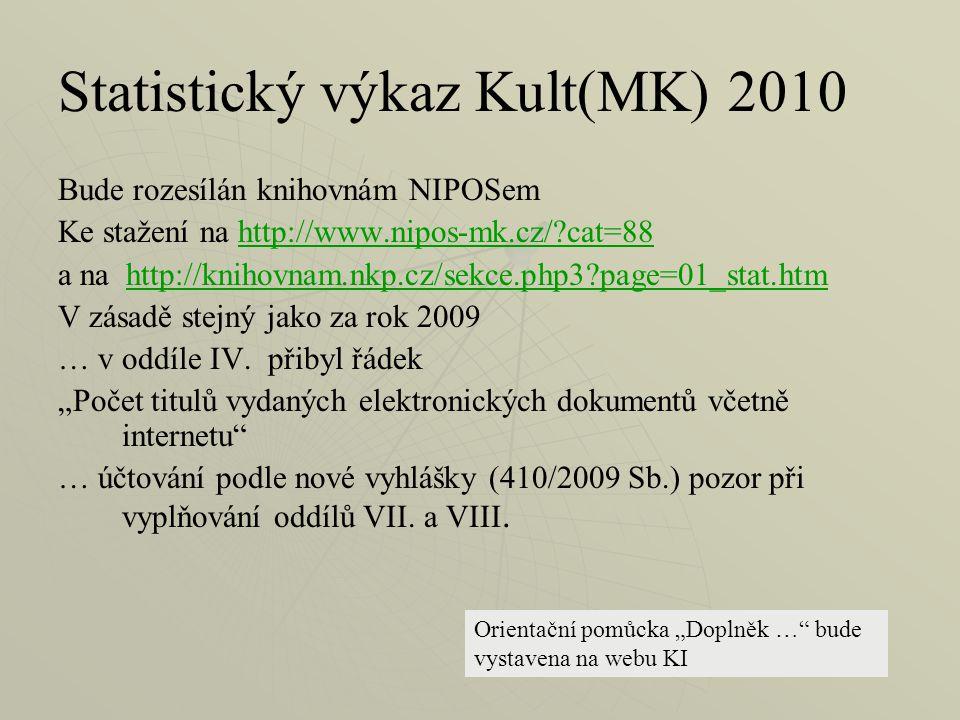 Statistický výkaz Kult(MK) 2010 Bude rozesílán knihovnám NIPOSem Ke stažení na http://www.nipos-mk.cz/ cat=88http://www.nipos-mk.cz/ cat=88 a na http://knihovnam.nkp.cz/sekce.php3 page=01_stat.htmhttp://knihovnam.nkp.cz/sekce.php3 page=01_stat.htm V zásadě stejný jako za rok 2009 … v oddíle IV.
