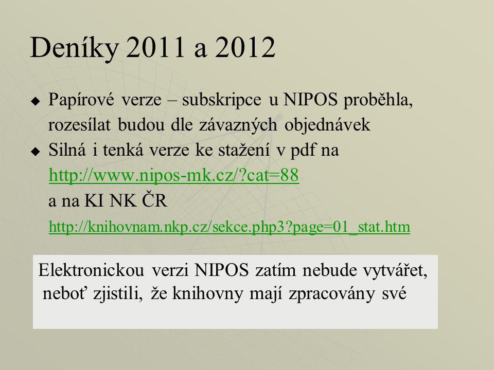 Deníky 2011 a 2012   Papírové verze – subskripce u NIPOS proběhla, rozesílat budou dle závazných objednávek   Silná i tenká verze ke stažení v pdf na http://www.nipos-mk.cz/ cat=88 a na KI NK ČR http://knihovnam.nkp.cz/sekce.php3 page=01_stat.htm Elektronickou verzi NIPOS zatím nebude vytvářet, neboť zjistili, že knihovny mají zpracovány své