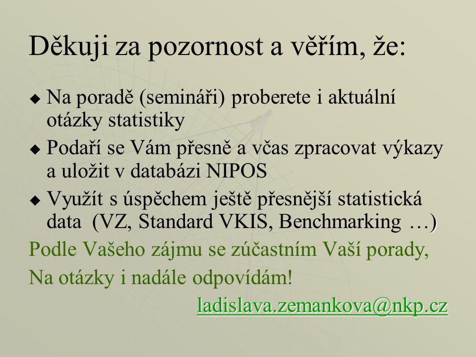 Děkuji za pozornost a věřím, že:   Na poradě (semináři) proberete i aktuální otázky statistiky   Podaří se Vám přesně a včas zpracovat výkazy a uložit v databázi NIPOS  )  Využít s úspěchem ještě přesnější statistická data (VZ, Standard VKIS, Benchmarking …) Podle Vašeho zájmu se zúčastním Vaší porady, Na otázky i nadále odpovídám.