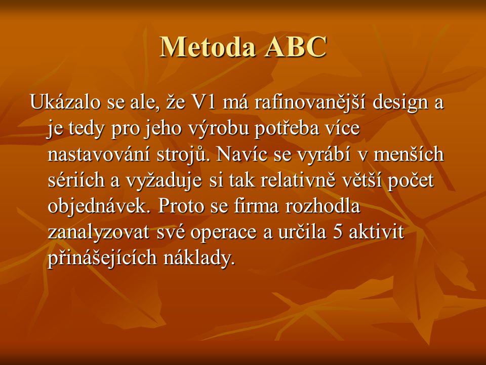 Metoda ABC Ukázalo se ale, že V1 má rafinovanější design a je tedy pro jeho výrobu potřeba více nastavování strojů. Navíc se vyrábí v menších sériích