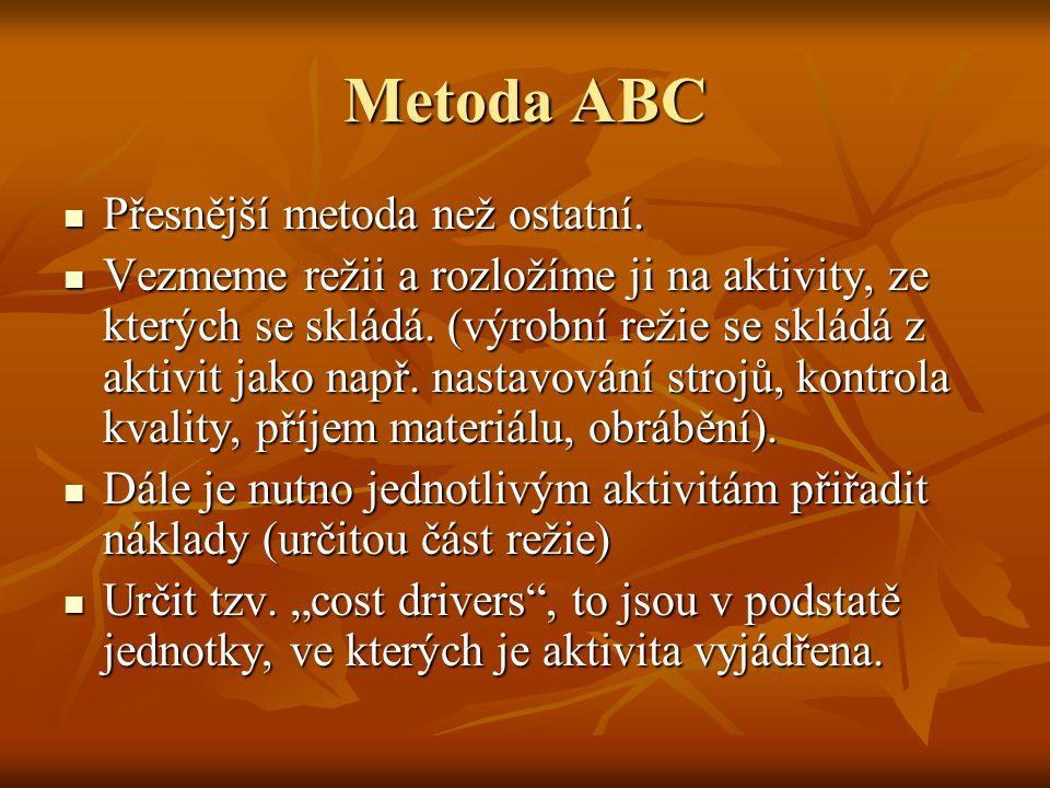 Metoda ABC Přesnější metoda než ostatní. Přesnější metoda než ostatní. Vezmeme režii a rozložíme ji na aktivity, ze kterých se skládá. (výrobní režie