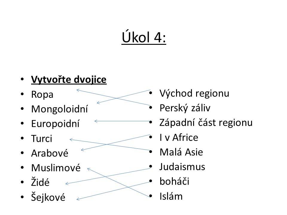 Úkol 4: Vytvořte dvojice Ropa Mongoloidní Europoidní Turci Arabové Muslimové Židé Šejkové Východ regionu Perský záliv Západní část regionu I v Africe Malá Asie Judaismus boháči Islám