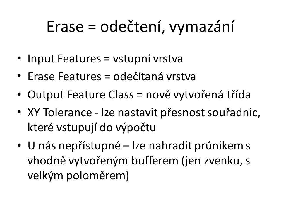 Input Features = vstupní vrstva Erase Features = odečítaná vrstva Output Feature Class = nově vytvořená třída XY Tolerance - lze nastavit přesnost souřadnic, které vstupují do výpočtu U nás nepřístupné – lze nahradit průnikem s vhodně vytvořeným bufferem (jen zvenku, s velkým poloměrem)