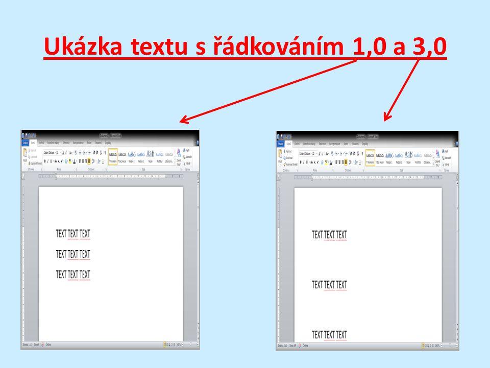 Ukázka textu s řádkováním 1,0 a 3,0