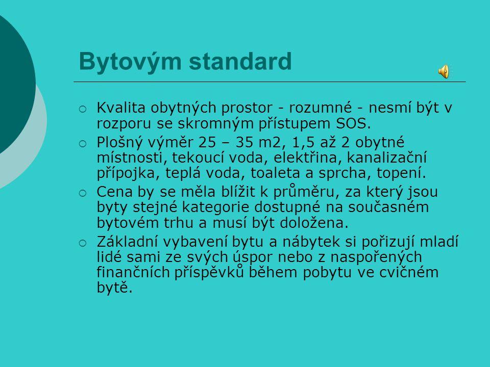 Bytovým standard  Kvalita obytných prostor - rozumné - nesmí být v rozporu se skromným přístupem SOS.  Plošný výměr 25 – 35 m2, 1,5 až 2 obytné míst