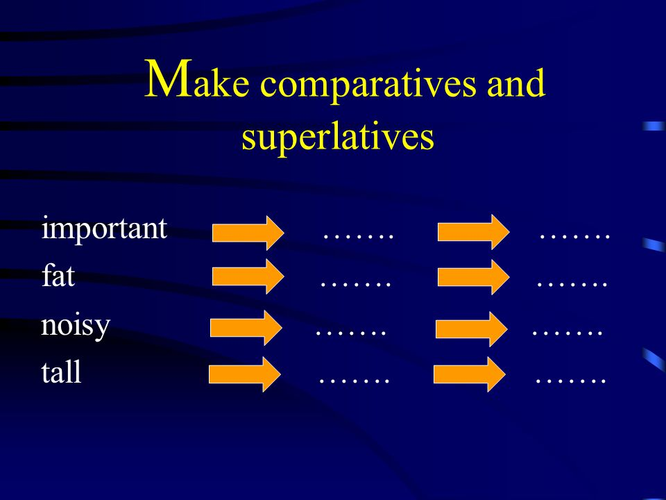 M ake comparatives and superlatives important ……. ……. fat ……. ……. noisy ……. ……. tall ……. …….