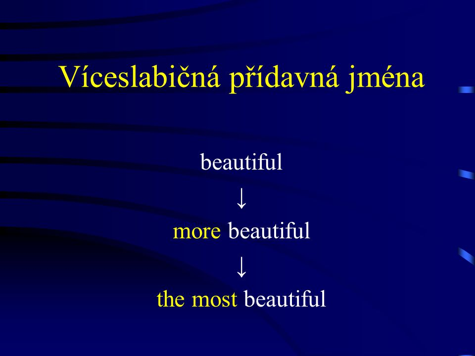 Víceslabičná přídavná jména beautiful ↓ more beautiful ↓ the most beautiful