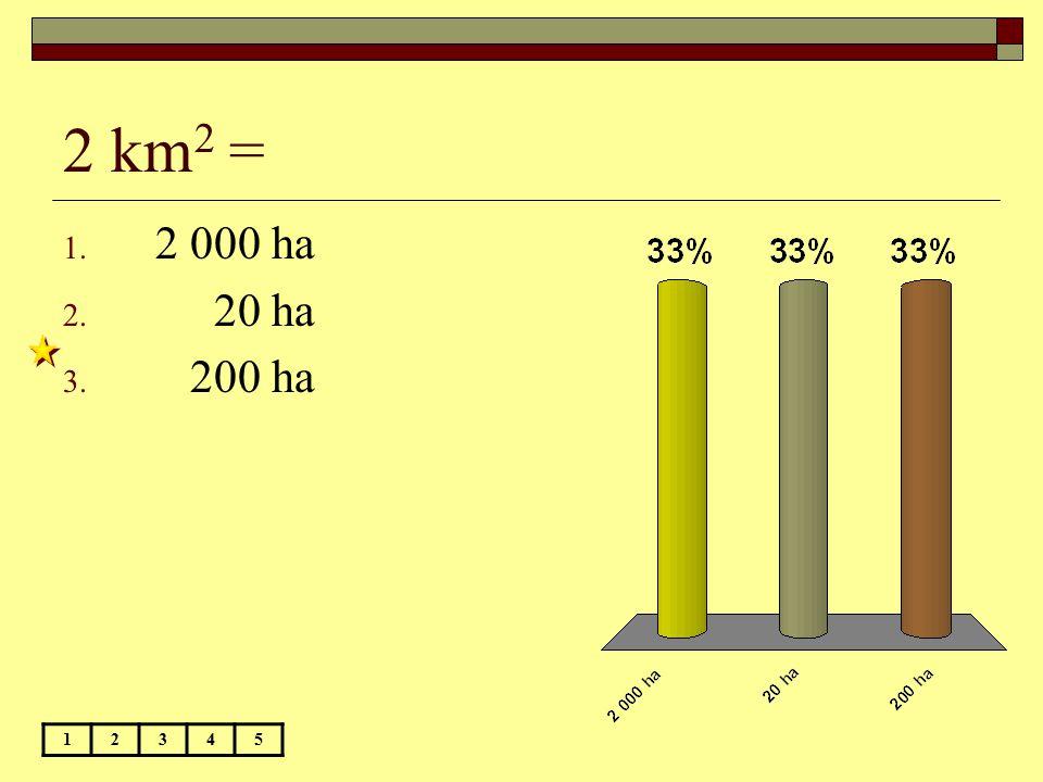 2 km 2 = 12345 1. 2 000 ha 2. 20 ha 3. 200 ha