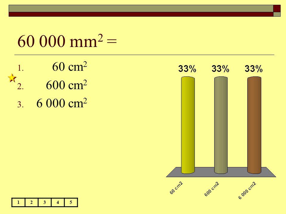 60 000 mm 2 = 12345 1. 60 cm 2 2. 600 cm 2 3. 6 000 cm 2