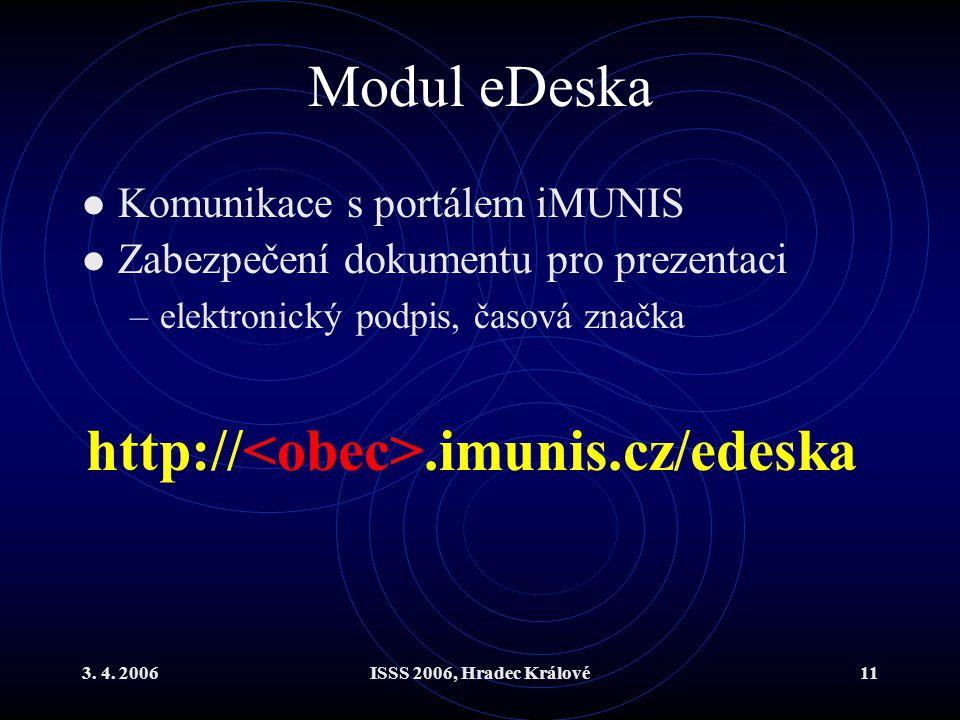 3. 4. 2006ISSS 2006, Hradec Králové11 Modul eDeska Komunikace s portálem iMUNIS Zabezpečení dokumentu pro prezentaci –elektronický podpis, časová znač