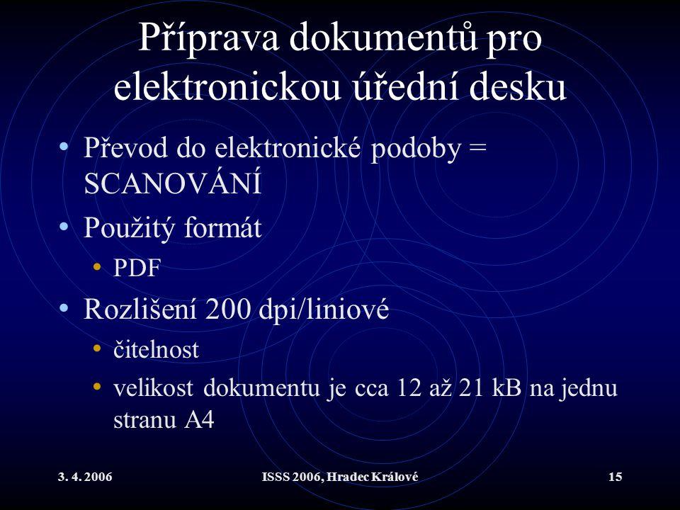 3. 4. 2006ISSS 2006, Hradec Králové15 Příprava dokumentů pro elektronickou úřední desku Převod do elektronické podoby = SCANOVÁNÍ Použitý formát PDF R