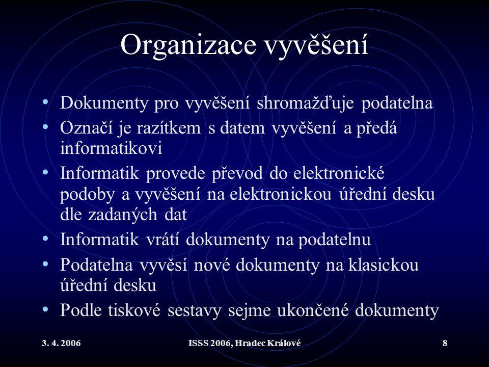 3. 4. 2006ISSS 2006, Hradec Králové8 Organizace vyvěšení Dokumenty pro vyvěšení shromažďuje podatelna Označí je razítkem s datem vyvěšení a předá info