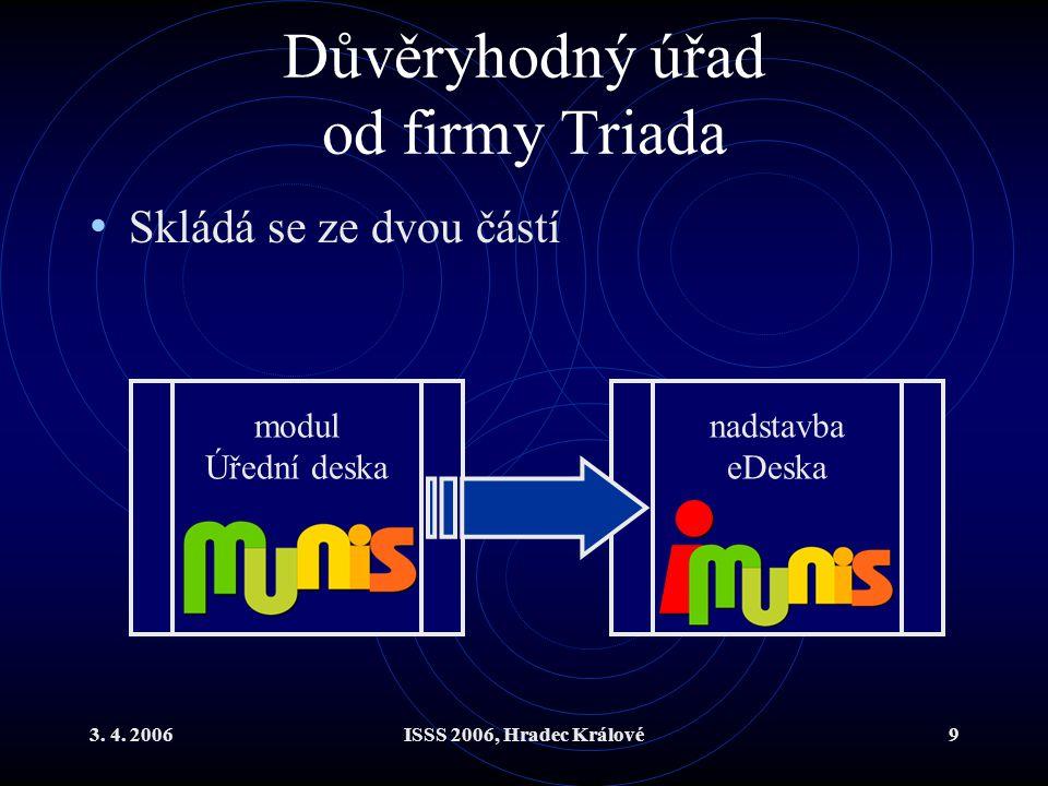 3. 4. 2006ISSS 2006, Hradec Králové9 Důvěryhodný úřad od firmy Triada Skládá se ze dvou částí modul Úřední deska nadstavba eDeska