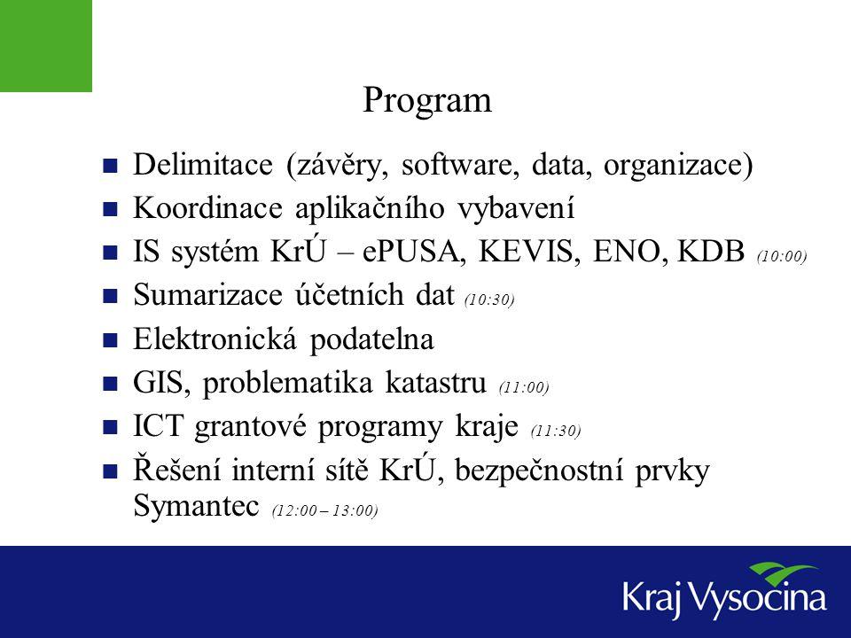 Program Delimitace (závěry, software, data, organizace) Koordinace aplikačního vybavení IS systém KrÚ – ePUSA, KEVIS, ENO, KDB (10:00) Sumarizace účet