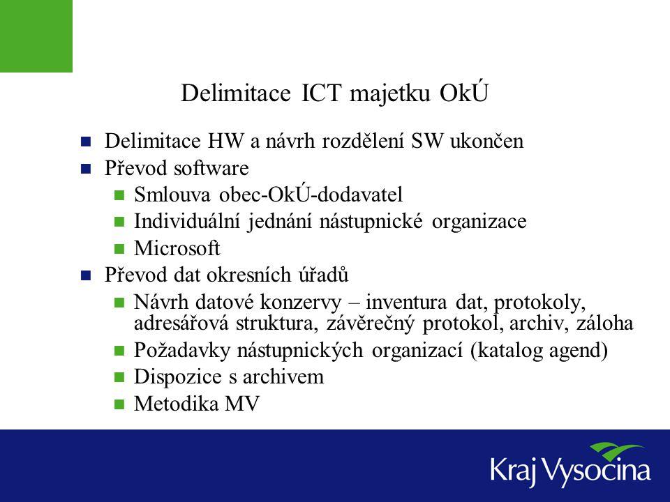 Delimitace ICT majetku OkÚ Delimitace HW a návrh rozdělení SW ukončen Převod software Smlouva obec-OkÚ-dodavatel Individuální jednání nástupnické orga