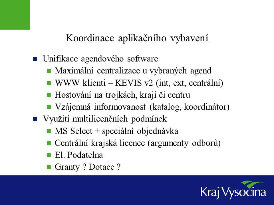 Koordinace aplikačního vybavení Unifikace agendového software Maximální centralizace u vybraných agend WWW klienti – KEVIS v2 (int, ext, centrální) Ho