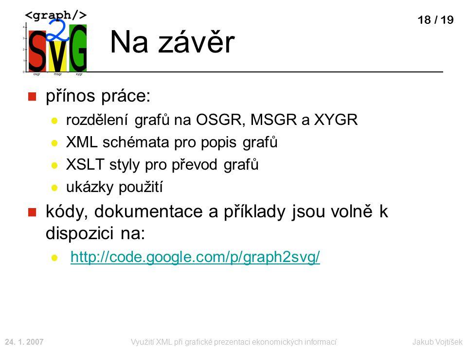 Jakub Vojtíšek24. 1. 2007Využití XML při grafické prezentaci ekonomických informací 18 / 19 Na závěr přínos práce: rozdělení grafů na OSGR, MSGR a XYG
