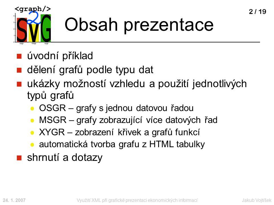 Jakub Vojtíšek24. 1. 2007Využití XML při grafické prezentaci ekonomických informací 2 / 19 Obsah prezentace úvodní příklad dělení grafů podle typu dat