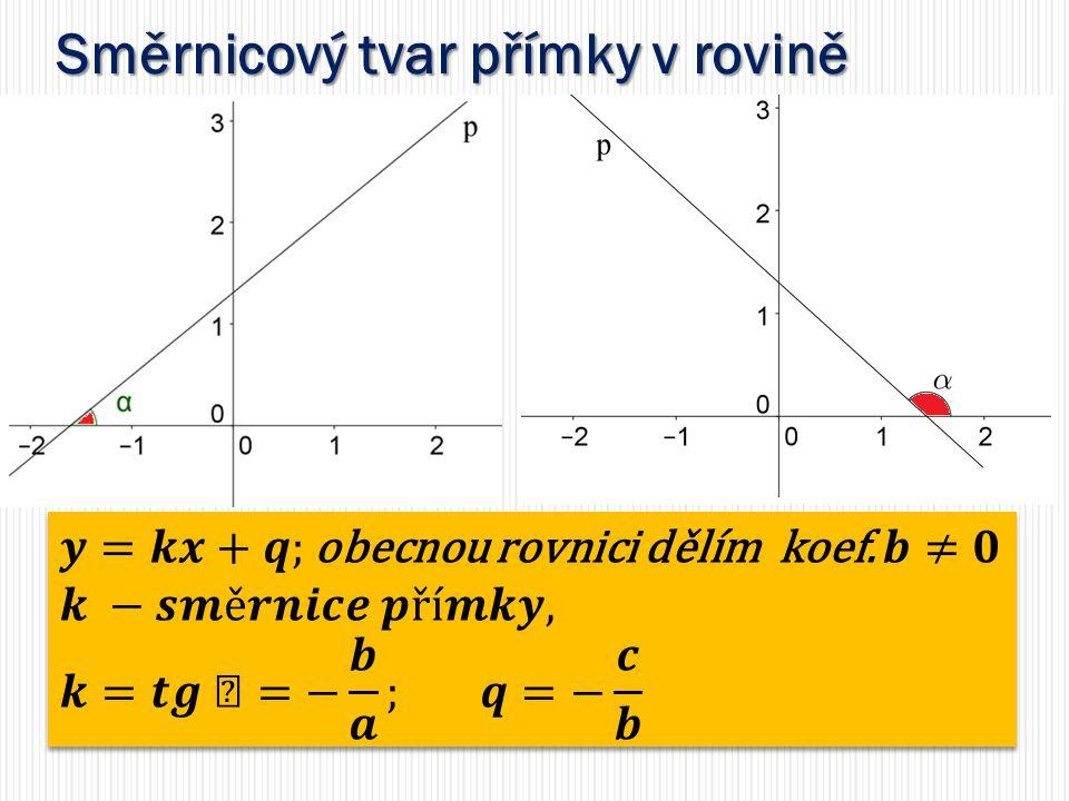 Směrnicový tvar přímky v rovině