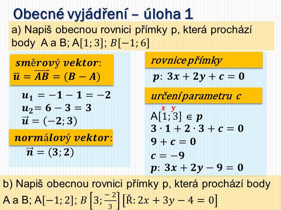 Směrnicový tvar přímky – úloha1