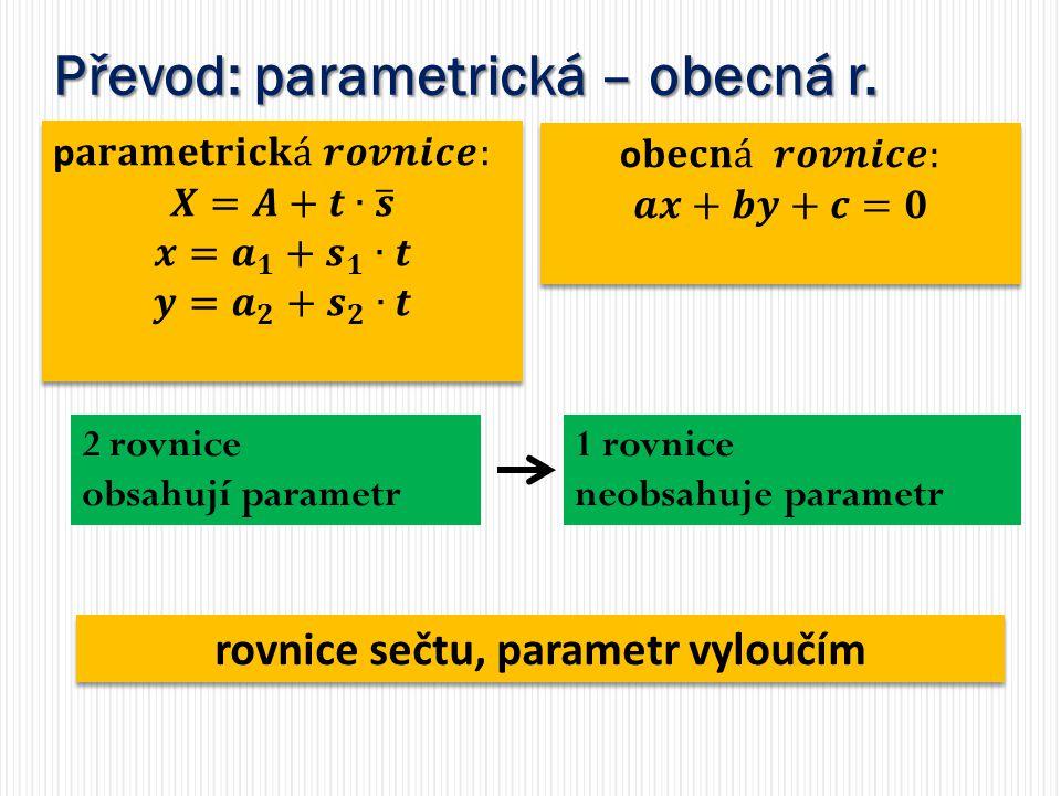 Převod: parametrická – obecná r. 2 rovnice obsahují parametr 1 rovnice neobsahuje parametr rovnice sečtu, parametr vyloučím