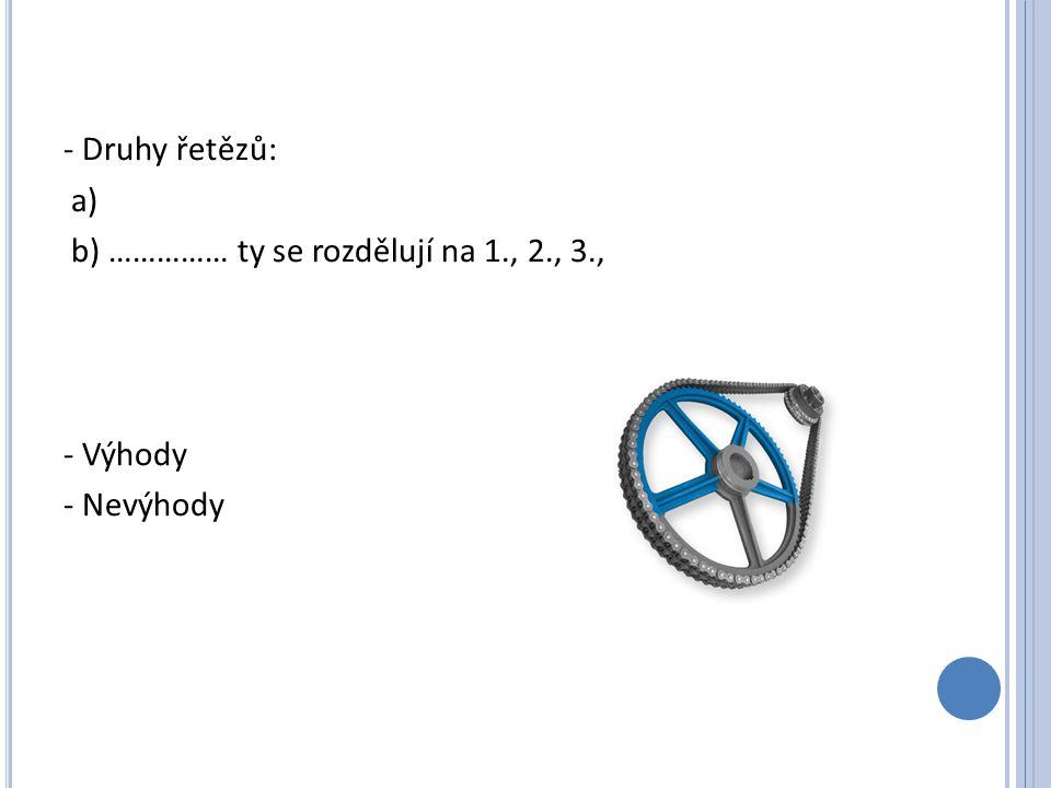 - Druhy řetězů: a) b) …………… ty se rozdělují na 1., 2., 3., - Výhody - Nevýhody