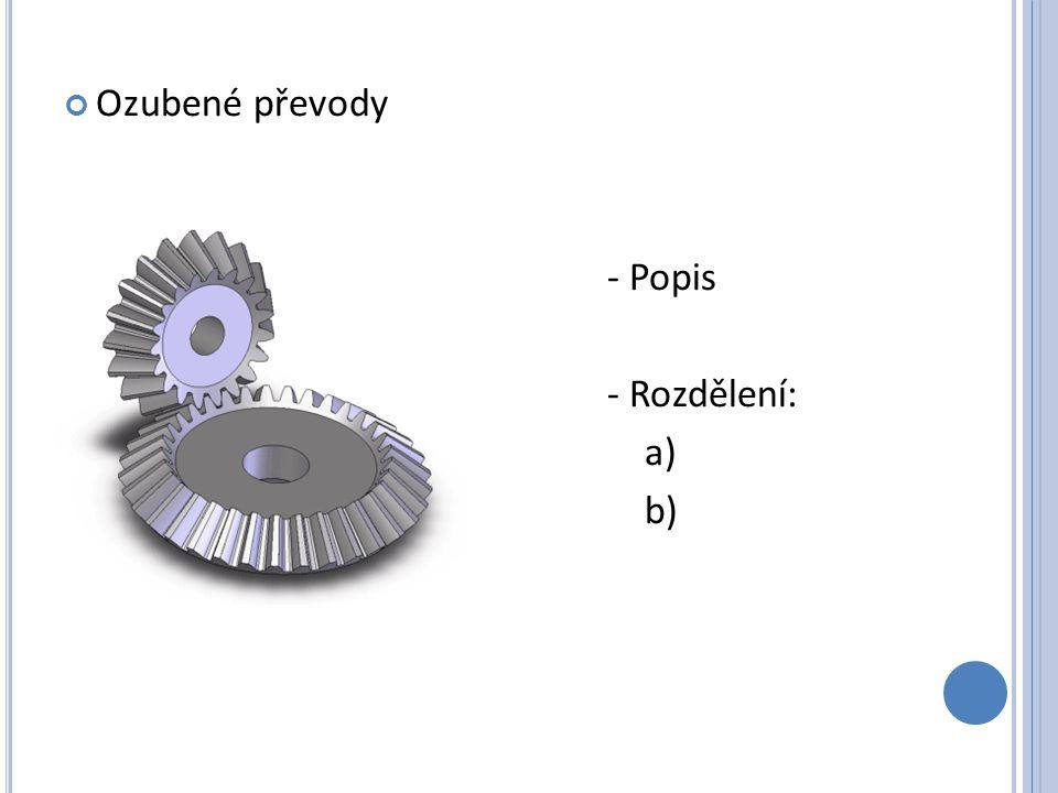 - Urči ozubený převod (poloha os, průběh zubů) a) b) c) d) e) - Výhody - Nevýhody