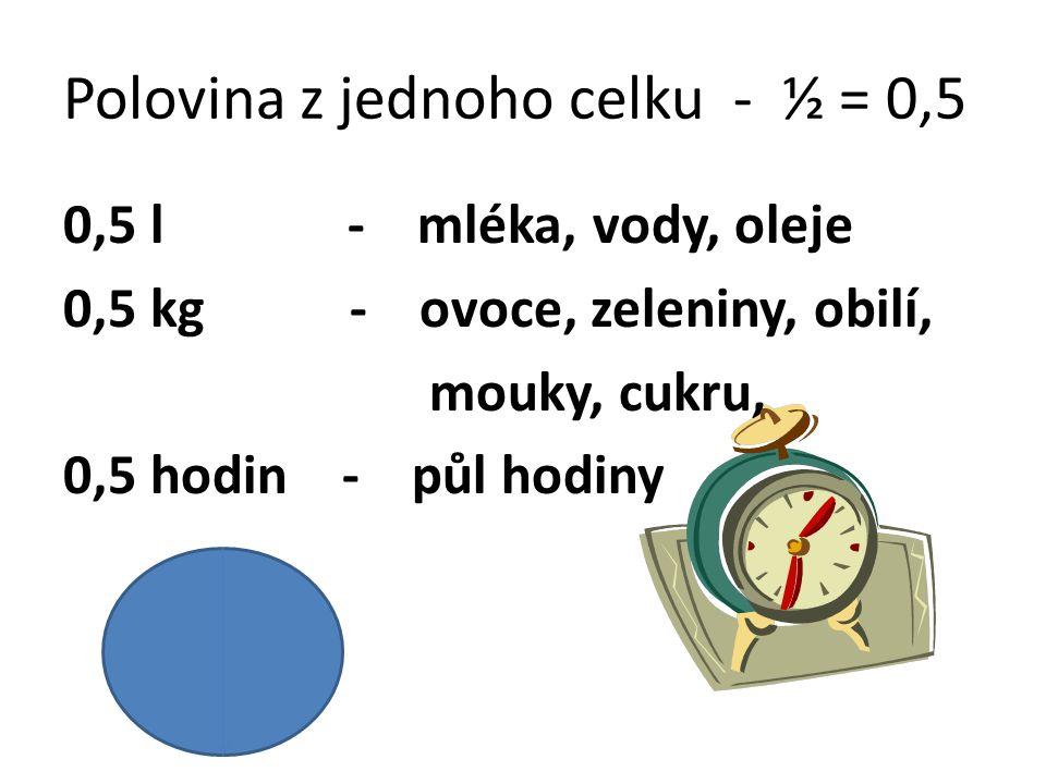 Polovina z jednoho celku - ½ = 0,5 0,5 l - mléka, vody, oleje 0,5 kg - ovoce, zeleniny, obilí, mouky, cukru, 0,5 hodin - půl hodiny