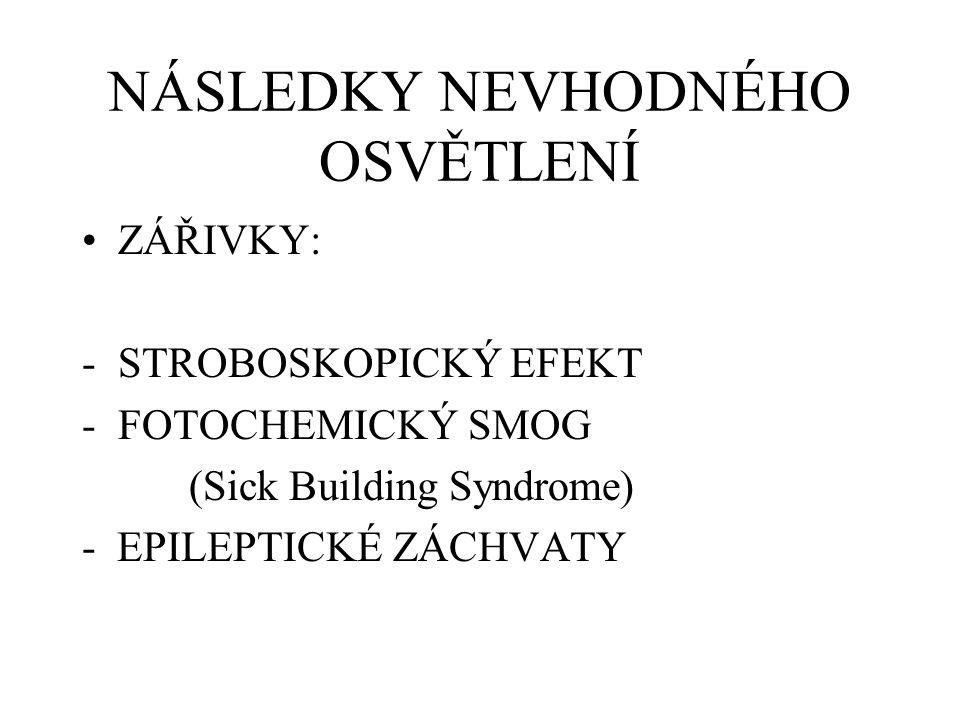 NÁSLEDKY NEVHODNÉHO OSVĚTLENÍ ZÁŘIVKY: -STROBOSKOPICKÝ EFEKT -FOTOCHEMICKÝ SMOG (Sick Building Syndrome) - EPILEPTICKÉ ZÁCHVATY