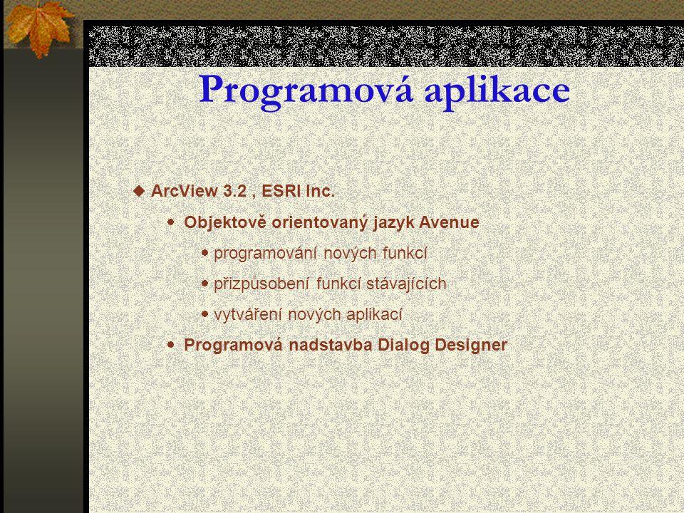 Programová aplikace  ArcView 3.2, ESRI Inc.