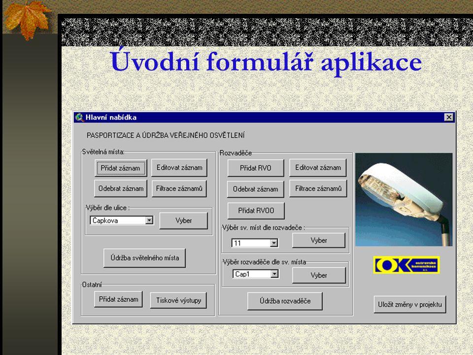 Úvodní formulář aplikace