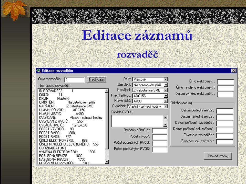 Editace záznamů rozvaděč