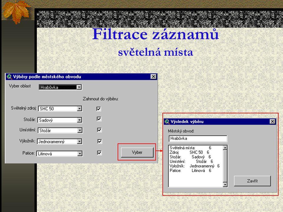 Filtrace záznamů světelná místa