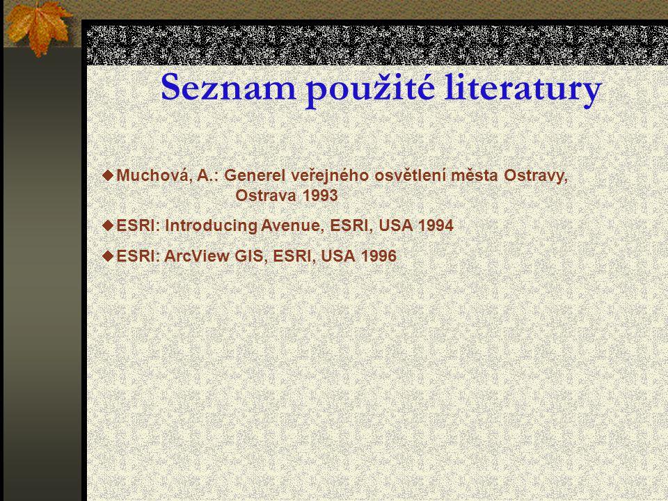 Seznam použité literatury  Muchová, A.: Generel veřejného osvětlení města Ostravy, Ostrava 1993  ESRI: Introducing Avenue, ESRI, USA 1994  ESRI: ArcView GIS, ESRI, USA 1996