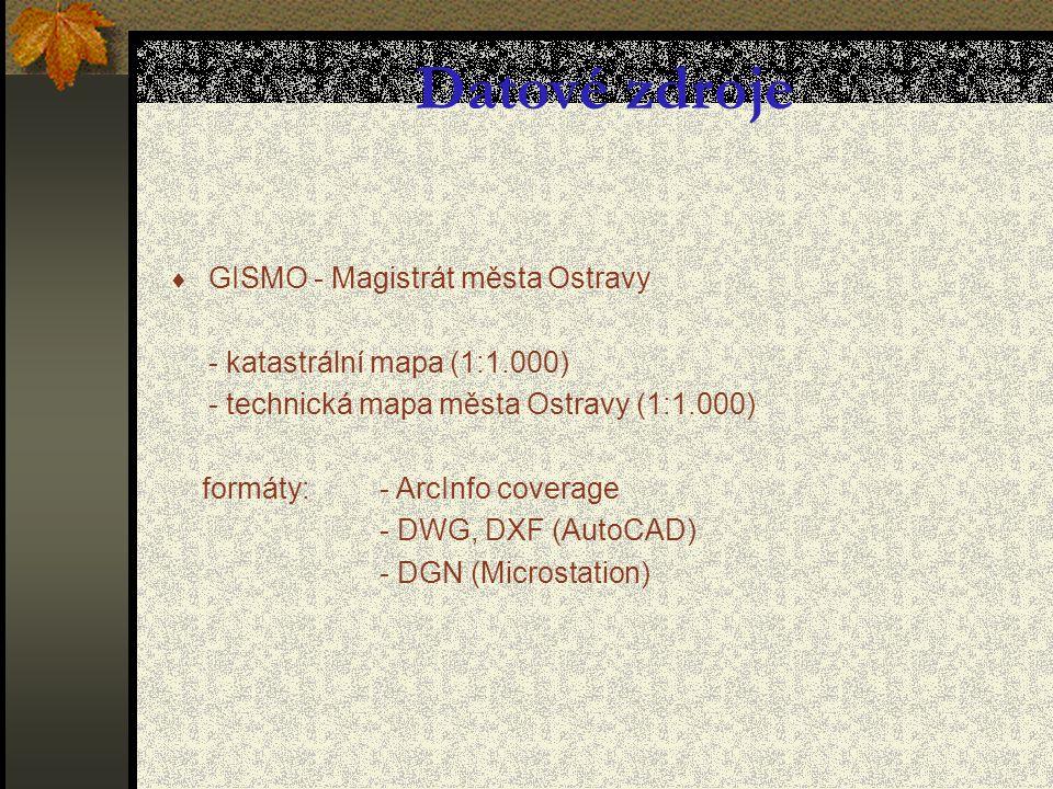  GISMO - Magistrát města Ostravy - katastrální mapa (1:1.000) - technická mapa města Ostravy (1:1.000) formáty: - ArcInfo coverage - DWG, DXF (AutoCAD) - DGN (Microstation) Datové zdroje
