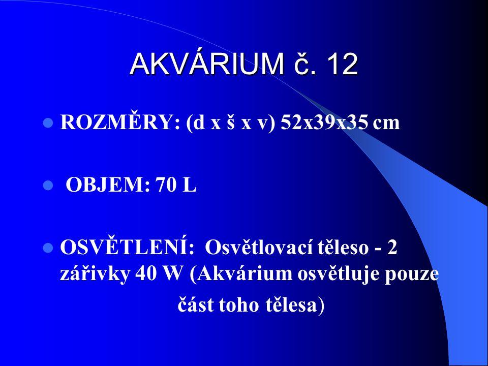 AKVÁRIUM č. 12 ROZMĚRY: (d x š x v) 52x39x35 cm OBJEM: 70 L OSVĚTLENÍ: Osvětlovací těleso - 2 zářivky 40 W (Akvárium osvětluje pouze část toho tělesa)
