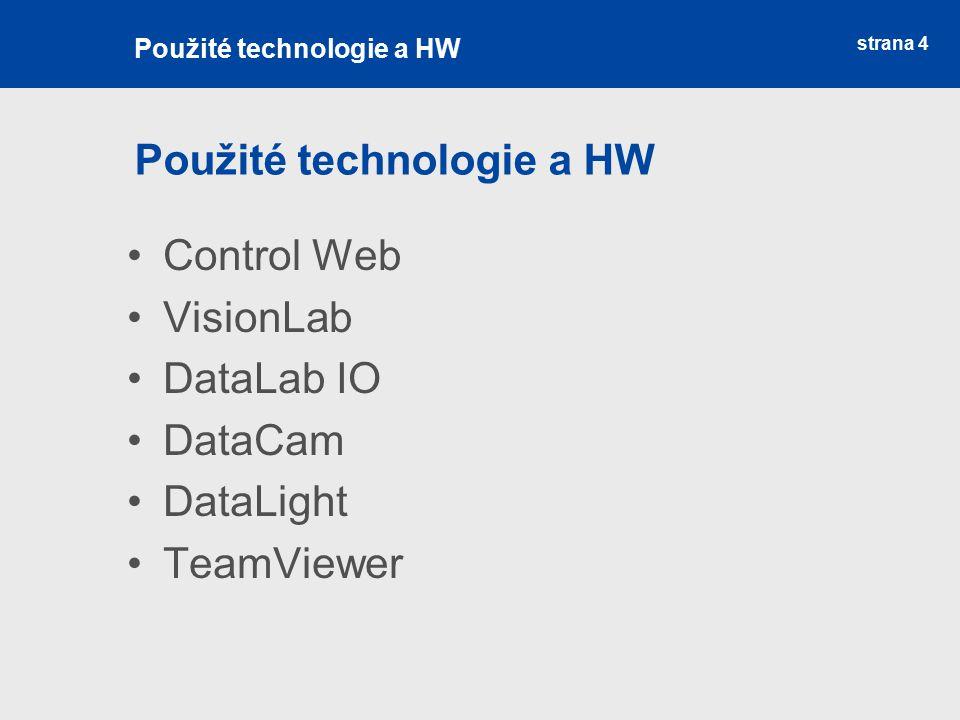 strana 4 Použité technologie a HW Control Web VisionLab DataLab IO DataCam DataLight TeamViewer Použité technologie a HW