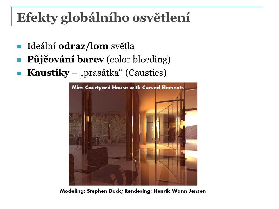 """Efekty globálního osvětlení Ideální odraz/lom světla Půjčování barev (color bleeding) Kaustiky – """"prasátka"""" (Caustics)"""